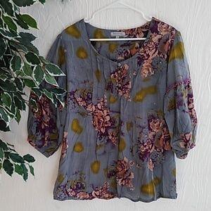 Gray floral peasant blouse